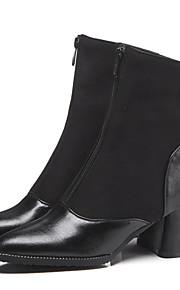 Naisten Sexy Bootsit PU Syystalvi Vintage / Englantilainen Bootsit Paksu korko Terävä kärkinen Säärisaappaat Musta / Juhlat