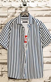 Skjorte Herre - Stripet Blå L