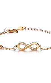 Naisten Synteettinen timantti Yksinauhainen Crystal Rannekoru Rakkaus äärettömyys muodikas Rannekorut Korut Kulta / Hopea / Ruusukulta Käyttötarkoitus Party Päivittäin