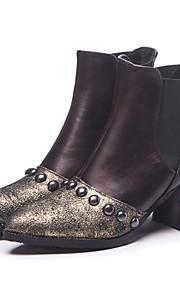 Naisten British Style Plaid-kengät PU Syystalvi Vintage / Englantilainen Bootsit Paksu korko Pyöreä kärkinen Säärisaappaat Niiteillä Kulta / Valkoinen / Juhlat