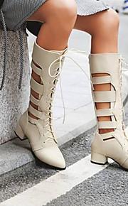 Naisten PU 봄 & Syksy / Kevät kesä Vapaa-aika / minimalismi Bootsit Paksu korko Terävä kärkinen Musta / Beesi / Ruskea