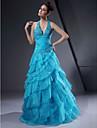 볼 드레스 V 넥 / 홀터 넥 바닥 길이 오간자 / 새틴 오픈 백 포멀 이브닝 드레스 와 비즈 으로 TS Couture®