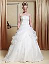 Linia -A / Prințesă Fără Bretele Lungime Podea Organza / Satin Made-To-Measure rochii de mireasa cu Mărgele / Aplică / Rochie Pick Up de LAN TING BRIDE® / Strălucitor & Lucios