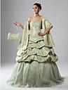 A-line rochie cu bile fara bretele lungime de podea sculptata organza taffeta rochie de bal cu aplicatii de ts couture®