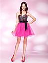 Princesa Sem Alças Curto / Mini Tule Cetim Elástico Paetês Coquetel / Reunião de Classe Vestido com Miçangas Faixa / Fita de TS Couture®