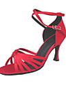 Pentru femei Latin Sală Dans Satin Sandale Călcâi Cataramă Toc Stilat Auriu Rosu Roșu Auriu NePersonalizabili