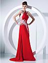 Linia -A Prințesă Halter Mătura / Trenă Șifon Bal Seară Formală Rochie cu Aplică Drapat Părți de TS Couture®