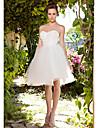 Salon Escote Corazon Hasta la Rodilla Tafetan / Tul Vestidos de novia hechos a medida con Fruncido / En Cruz por LAN TING BRIDE® / Transparente
