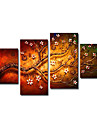 Oil Painting Hand Painted - Floral / Botanical Canvas Four Panels