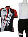 Kooplus Herr Kortärmad Cykeltröja med Haklapp-shorts - Röd / Vit Cykel Klädesset, Snabb tork, Andningsfunktion Polyester