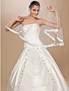 Un nivel Margine cu Aplicație de Dantelă Voal de Nuntă Voaluri Lungi Până la Cot Cu Flori din Satin 62.99 in (160cm) Tulle A-line, Rochie