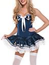 Costumi di carriera Marinaro Costumi Cosplay Vestito da Serata Elegante Per donna Halloween Carnevale Feste / vacanze Costumi Halloween Completi Bianco / Blu Collage Di pizzo Uniformi marinai