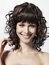 Ihmisen hiukset Capless Peruukit Kihara Tyyli Suojuksettomat Peruukki Musta Aidot hiukset 13 inch Naisten Mustanruskea Peruukki