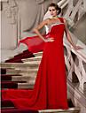 Coloană / Teacă Pe Umăr Trenă Court Șifon Seară Formală Bal Militar Rochie cu Mărgele Drapat Părți Ruching de TS Couture®