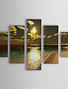 Handmålad abstrakt oljemålning med förstorat landskap på sträckt ram (set om fem)