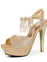 Pantofi De Seară, Sandale Stiletto Peep Toe Din Piele (Mai Multe Culori)