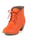 Damă Primăvară Toamnă Iarnă Pantofi la Modă Imitație de Piele Casual Toc Gros Dantelă Maro Negru Maro Bej Oranj