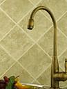 Antique Grand / Haut Arc Montage Rotatif with  Soupape ceramique 1 trou Mitigeur un trou for  Laiton Antique , Robinet de Cuisine