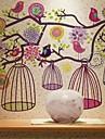 Sticker de perete colorat cu flori și păsări
