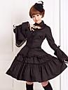 Outfits Gotisk Lolita Lolita Cosplay Lolita-klänning Svart Enfärgat Långärmad Medium längd Blus Kjol För Cotton