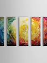 HANDMÅLAD Abstrakt Horisontell, Moderna Hang målad oljemålning Hem-dekoration Fem paneler