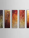 Hang målad oljemålning HANDMÅLAD - Abstrakt Klassisk Fem paneler