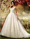 Linha A Princesa Decote V Cauda Escova Tule Paetes Vestidos de noiva personalizados com Micangas Lantejoulas Faixa / Fita de LAN TING