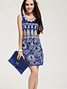 Femei elegant Sequin Floral Print rochie mini