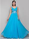 Linia -A În V Lungime Podea Șifon Bal / Seară Formală Rochie cu Aplică / Pliuri de TS Couture®