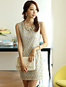 femei gât rochie mini, sifon multi-color partid / print