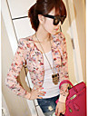 Femei Tailor guler Cute Floral Print șifon uza cu maneca lunga