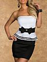 Femei fara bretele stras-arc înfrumusețarea rochie mini