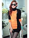 Femeile de lână guler maneca lunga T-Shirt pulover femei Strip Patchwork Jos Cămăși
