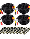 Cables VideoSecu 4Pcs 49.5ft Video Power Cable with BNC to RCA Adapter Connector pour la securite Systemes 1500cm 1.08kg