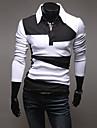 Shirts Color Block maneca lunga Polo QCH bărbați (White)