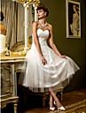 Linia -A In Formă de Inimă Lungime Tea Tulle Made-To-Measure rochii de mireasa cu Cruce de LAN TING BRIDE®