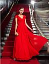 Coloană / Teacă Gât V Lungime Podea Șifon Seară Formală Bal Militar Rochie cu Mărgele Cruce de TS Couture®
