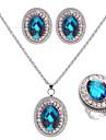 Set bijuterii Pentru femei Nuntă / Logodnă / Zi de Naștere Set Bijuterii Aliaj Safir / Ștras Coliere / Σκουλαρίκια Argintiu
