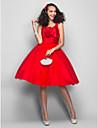 Balo Abiyesi / Belden Oturan V Yaka Diz Boyu Saten / Tül Kırma Dantel / Çiçekli ile Mezunlar Günü / Balo Elbise tarafından TS Couture®