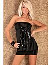 Aifei sexy fara bretele de mătase rochie mini cu paiete (Negru)