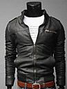 DD uzură de moda Zipper decorative Slăbire Short Jacket (Negru)