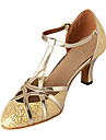 Chaussures de danse(Argent Or) -Non Personnalisables-Talon Personnalise-Similicuir Paillette Brillante-Moderne Salon