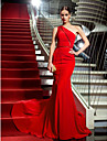 Mermaid / Trumpet One Shoulder Court Train Chiffon Formal Evening / Military Ball Dress with Pearl Detailing by TS Couture®
