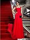 Coloană / Teacă Pătrat Mătura / Trenă Șifon Seară Formală Bal Militar Rochie cu Arc Ruching Cruce de TS Couture®