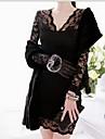 CoolCube femei V gât dantelă cu maneci lungi Bodycon rochie neagră