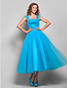 Ball Gown Square Neck Tea Length Tulle Prom Dress with Draping / Ruched by TS Couture®