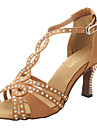 Femme Latines Salsa Salon Satin Sandale Talon Strass Talon Bottier Bronze Non Personnalisables