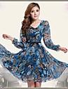 Femei Floral Print Dress Fit