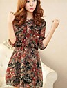 Femei Vintage Floral Print șifon Mini rochii