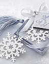 söt ihålig snöflinga med tofsar 6.5 * 6.5 * 1 metallbokmärken& clips (silver, 1st)